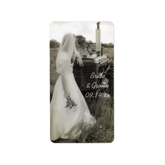 Braut-und Traktor-Land-Gastgeschenk Adress Aufkleber