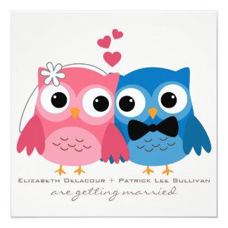 Bräutigam-Eulen-und Braut-Eulen-niedliche Quadratische 13,3 Cm Einladungskarte