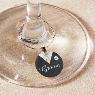 Bräutigam-schwarzer Hochzeits-Anzugs-Toast Glasmarker