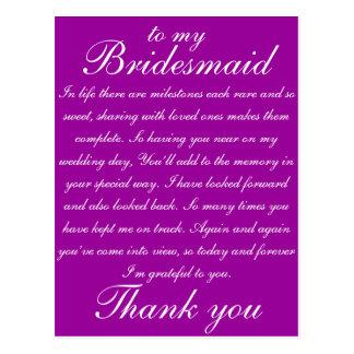 Brautjungfer danken Ihnen Postkarte