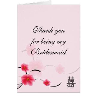 Brautjungfer danken Ihnen, rosa Blüten-Doppeltes Mitteilungskarte