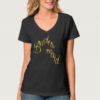 Brautjungfer, Gold, Kursivbuchstabe-Schwarzes T-Shirt