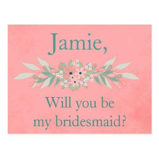 Brautjungfer laden Rosa und grünes Blumen ein Postkarte