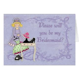 Brautjungfer - sind Sie meine Brautjungfer? Karte