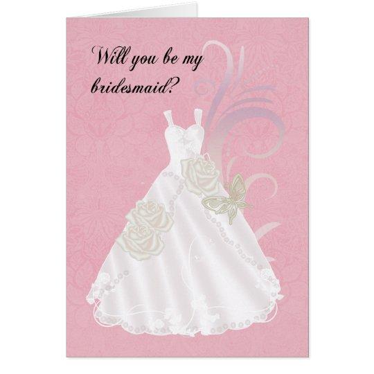 Brautjungfer, sind Sie meine Brautjungfer, Rosa Grußkarte
