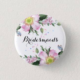 Brautjungfern-bunter Blumen-Weiß-Hintergrund Runder Button 2,5 Cm
