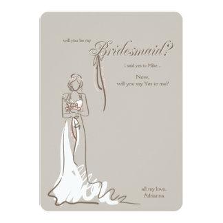 Brautjungfern-Fragen-Karte 12,7 X 17,8 Cm Einladungskarte