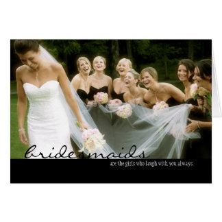 Brautjungfern-Hochzeit danken Ihnen zu kardieren Mitteilungskarte