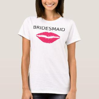 Brautjungfern-rosa Lippen T-Shirt