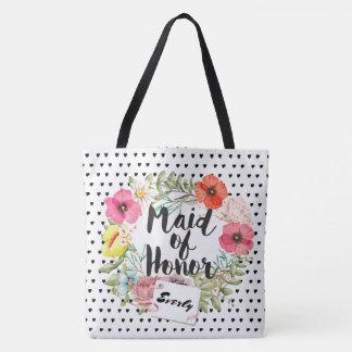 Brautjungfern-Typografie-Aquarell-BlumenKranz Tasche