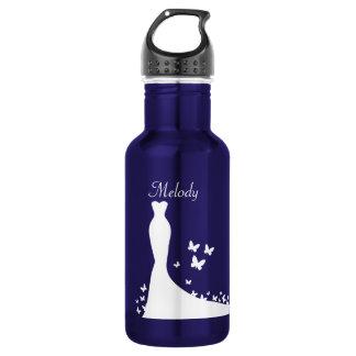 Bräutliches blaues und weißes Thema Edelstahlflasche