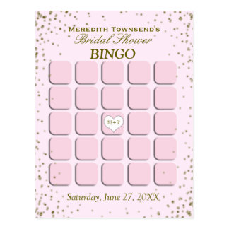 Brautparty-Bingo| rosa Confetti Postkarte