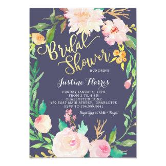 Brautparty, blaue Blumen, Goldeinladung Karte