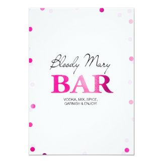 Brautparty-Bloody- MaryBar-Zeichen| rosa Confetti 12,7 X 17,8 Cm Einladungskarte