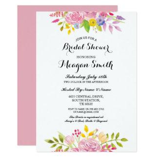 Brautparty-Blumen-Rosa-hübsche Einladungen