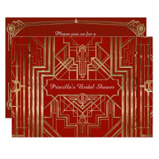 Brautparty, das, große Gatsby Art, rot ehrt 12,7 X 17,8 Cm Einladungskarte