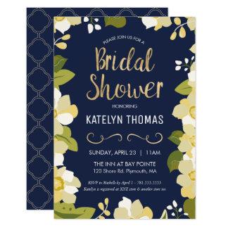 Brautparty-Einladung, fertigen Blumen mit Gold 8,9 X 12,7 Cm Einladungskarte