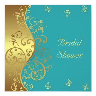 Brautparty-Einladung--GoldWirbel u. aquamarines Karte