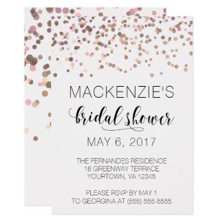 Brautparty-Einladung - rosa Rosen-GoldConfetti 12,7 X 17,8 Cm Einladungskarte