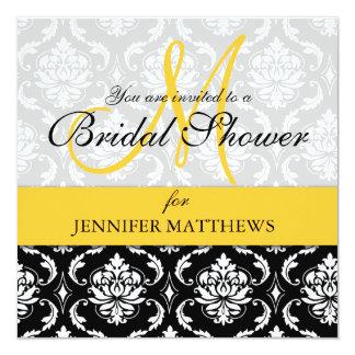 Brautparty-Einladungs-Damast-Gelb-Monogramm Quadratische 13,3 Cm Einladungskarte
