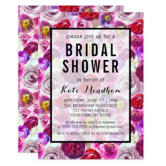 Brautparty-Einladungs-Rosa-lila Imitat-Gold Karte