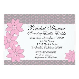 Brautparty-Einladungs-Rosa u. graues Blumen 12,7 X 17,8 Cm Einladungskarte