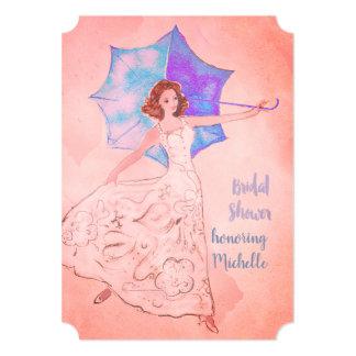 Brautparty-Einladungs-warmes Rosa Karte