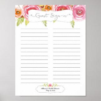 Brautparty-Gast unterzeichnen herein Blatt rosa Poster