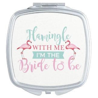 Brautparty-kundenspezifischer Team-Braut Flamingle Taschenspiegel
