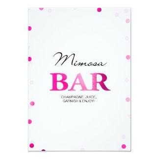 Brautparty-Mimosen-Bar-Zeichen| rosa Confetti 12,7 X 17,8 Cm Einladungskarte