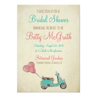 Brautparty mit wunderlicher Rollerillustration Karte