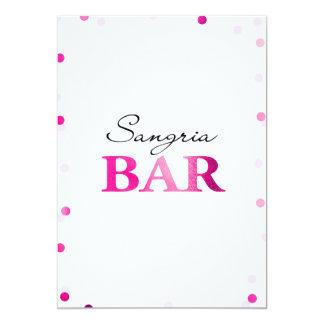 Brautparty-Sangria-Bar-Zeichen| magentaroter 12,7 X 17,8 Cm Einladungskarte
