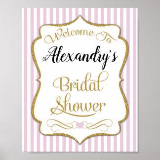 Brautparty-willkommenes Zeichen-Rosa-Gold elegant Poster