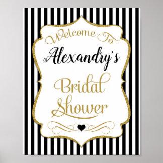 Brautparty-willkommenes Zeichen-Schwarz-Gold Poster