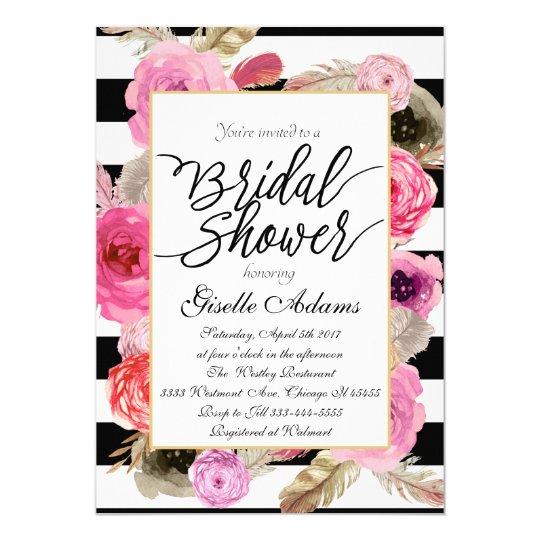 Brautpartyblumenrosa von Rosa 12,7 X 17,8 Cm Einladungskarte
