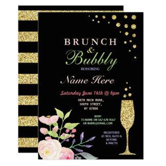 BrautpartyBrunch u. sprudelnde GoldBlume laden ein Karte