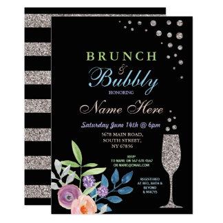 BrautpartyBrunch u. sprudelnde silberne Blume Karte
