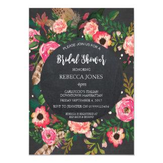 Brautpartyeinladungsmoderne Blumentafel Karte