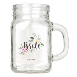 Brautrosa Blumenwatercolor-Wedding Brautparty Einmachglas