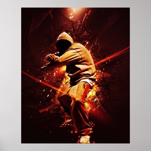 breakdancer de hip-hop sur le feu posters