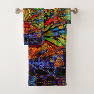 Brechen durch Schmetterlings-Grafik durch Deprise Badhandtuch Set