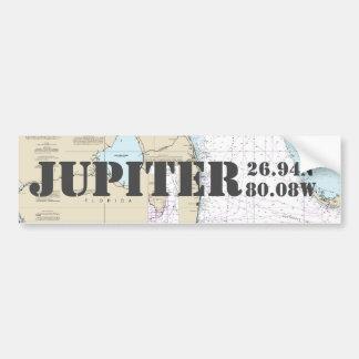 Breite-Länge-Navigations-Diagramm Jupiters FL Autoaufkleber