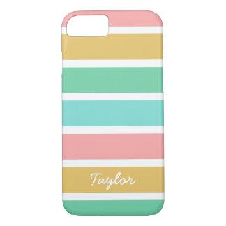 Breiter Sommer Stripes individuellen Namen iPhone 7 Hülle