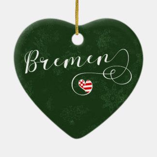 Bremen-Herz, Weihnachtsbaum-Verzierung, Keramik Ornament