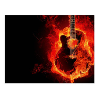 Brennende Gitarre, Orange flammt Musik-Rockband Postkarte