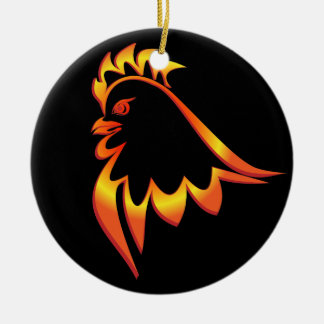 Brennender Hahn Rundes Keramik Ornament