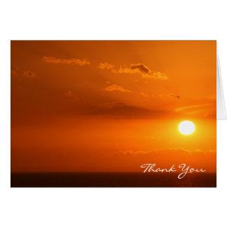 Brennender heißer orange Sonnenuntergang, Mitteilungskarte