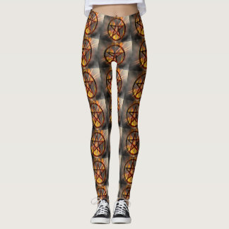 Brennender Pentagram Leggings