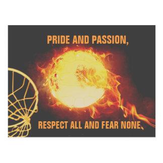 Brennendes Ballnetball-Thema-Bild mit Slogan Postkarte