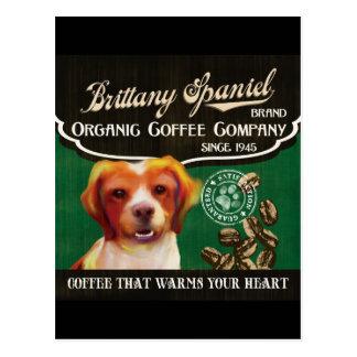 Bretagnespaniel-Marke - Organic Coffee Company Postkarte